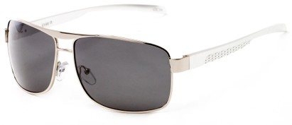 Angle of Argo #1466 in Silver Frame with Grey Lenses, Men's Aviator Sunglasses