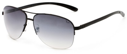 Angle of Bridgeport #1314 in Black Frame with Smoke Lenses, Women's and Men's Aviator Sunglasses