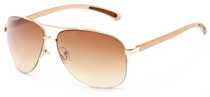 Angle of Bridgeport #1314 in Gold Frame with Amber Lenses, Women's and Men's Aviator Sunglasses