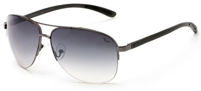 Angle of Bridgeport #1314 in Grey Frame with Smoke Lenses, Women's and Men's Aviator Sunglasses