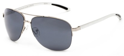 Angle of Bridgeport #1314 in Silver Frame with Grey Lenses, Women's and Men's Aviator Sunglasses