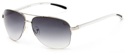 Angle of Bridgeport #1314 in Silver Frame with Smoke Lenses, Women's and Men's Aviator Sunglasses