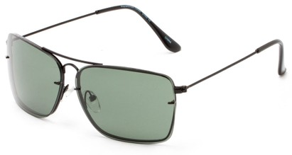 Angle of Bridger #1507 in Black Frame with Green Lenses, Women's and Men's Aviator Sunglasses