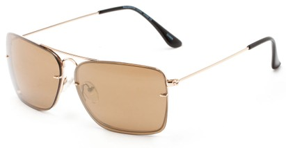 Angle of Bridger #1507 in Gold Frame with Brown Lenses, Women's and Men's Aviator Sunglasses