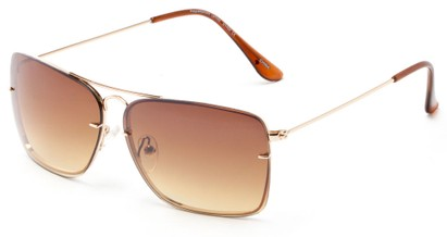 Angle of Bridger #1507 in Gold Frame with Amber Lenses, Women's and Men's Aviator Sunglasses