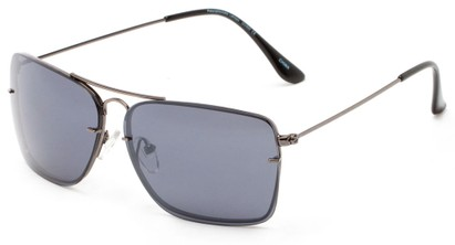 Angle of Bridger #1507 in Grey Frame with Smoke Lenses, Women's and Men's Aviator Sunglasses