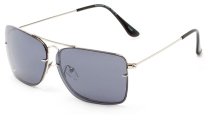 Angle of Bridger #1507 in Silver Frame with Smoke Lenses, Women's and Men's Aviator Sunglasses