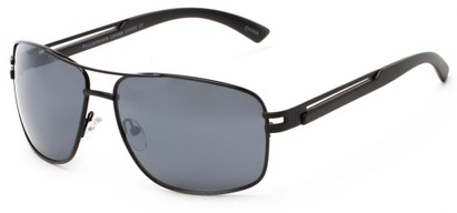 Angle of Sutton #1578 in Black Frame with Grey Lenses, Women's and Men's Aviator Sunglasses