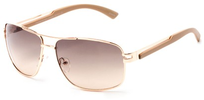Angle of Sutton #1578 in Gold/Tan Frame with Brown Lenses, Women's and Men's Aviator Sunglasses