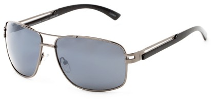 Angle of Sutton #1578 in Glossy Grey Frame with Grey Lenses, Women's and Men's Aviator Sunglasses