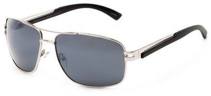 Angle of Sutton #1578 in Silver/Black Frame with Grey Lenses, Women's and Men's Aviator Sunglasses