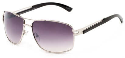 Angle of Sutton #1578 in Silver/Black Frame with Smoke Lenses, Women's and Men's Aviator Sunglasses