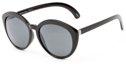 Angle of Pickwick #1663 in Black/Silver Frame with Grey Lenses, Women's Cat Eye Sunglasses