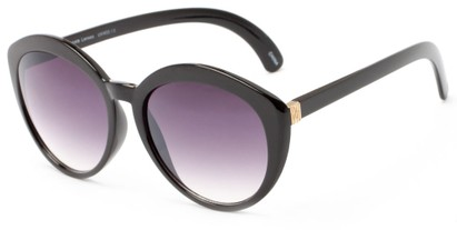 Angle of Pickwick #1663 in Black/Gold Frame with Smoke Lenses, Women's Cat Eye Sunglasses