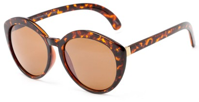 Angle of Pickwick #1663 in Brown Tortoise Frame with Amber Lenses, Women's Cat Eye Sunglasses