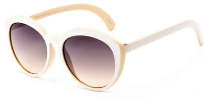 Angle of Pickwick #1663 in White/Cream Frame with Brown Lenses, Women's Cat Eye Sunglasses