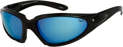Angle of Whitewater #4230 in Black Frame with Blue Mirrored Lenses, Women's and Men's Sport & Wrap-Around Sunglasses