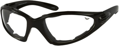 Angle of Whitewater #4230 in Black Frame with Clear Lenses, Women's and Men's Sport & Wrap-Around Sunglasses