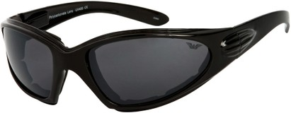 Angle of Whitewater #4230 in Black Frame with Smoke Lenses, Women's and Men's Sport & Wrap-Around Sunglasses