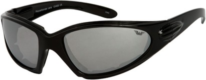 Angle of Whitewater #4230 in Black Frame with Silver Mirrored Lenses, Women's and Men's Sport & Wrap-Around Sunglasses