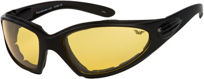 Angle of Whitewater #4230 in Black Frame with Yellow Lenses, Women's and Men's Sport & Wrap-Around Sunglasses