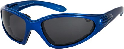 Angle of Whitewater #4230 in Blue Frame with Smoke Lenses, Women's and Men's Sport & Wrap-Around Sunglasses