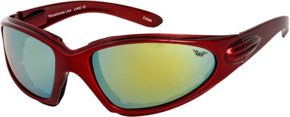 Angle of Whitewater #4230 in Red Frame with Yellow Mirrored Lenses, Women's and Men's Sport & Wrap-Around Sunglasses