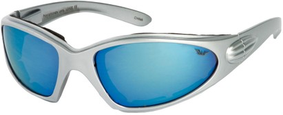 Angle of Whitewater #4230 in Silver Frame with Blue Mirrored Lenses, Women's and Men's Sport & Wrap-Around Sunglasses