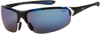 Angle of Boulder #5407 in Black/Blue Frame with Blue Mirrored Lenses, Women's and Men's Sport & Wrap-Around Sunglasses