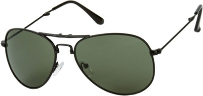Angle of Getaway #9240 in Black Frame with Green Lenses, Women's and Men's Aviator Sunglasses