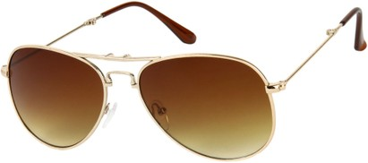 Angle of Getaway #9240 in Gold Frame with Amber Lenses, Women's and Men's Aviator Sunglasses