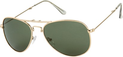 Angle of Getaway #9240 in Gold Frame with Green Lenses, Women's and Men's Aviator Sunglasses