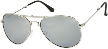 Angle of Getaway #9240 in Silver Frame with Mirrored Grey Lenses, Women's and Men's Aviator Sunglasses