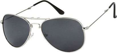 Angle of Getaway #9240 in Silver Frame with Grey Lenses, Women's and Men's Aviator Sunglasses