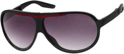 Angle of SW Folding Oversized Style #3807 in Black/Red Frame with Smoke Lenses, Women's and Men's Aviator Sunglasses