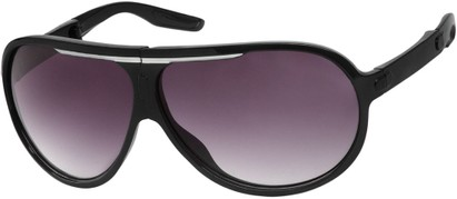 Angle of SW Folding Oversized Style #3807 in Black/White Frame with Smoke Lenses, Women's and Men's Aviator Sunglasses