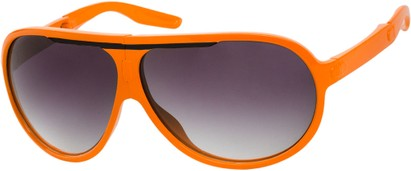 Angle of SW Folding Oversized Style #3807 in Orange/Black Frame with Smoke Lenses, Women's and Men's Aviator Sunglasses