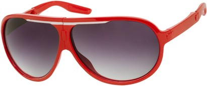 Angle of SW Folding Oversized Style #3807 in Red/White Frame with Smoke Lenses, Women's and Men's Aviator Sunglasses