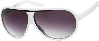Angle of SW Folding Oversized Style #3807 in White/Black Frame with Smoke Lenses, Women's and Men's Aviator Sunglasses