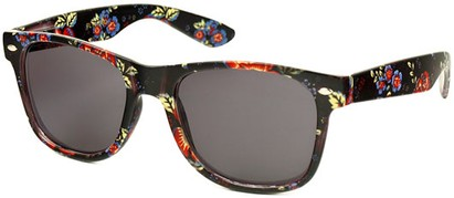 Angle of SW Floral Retro Style #2434 in Black/Red/Blue Floral, Women's and Men's