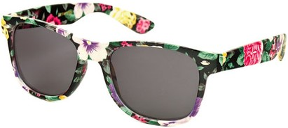 Angle of SW Floral Retro Style #2434 in Black/Purple/Yellow Floral, Women's and Men's