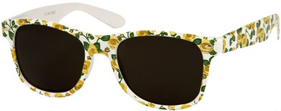 Angle of SW Floral Retro Style #2434 in White/Yellow Floral, Women's and Men's