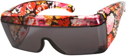 Angle of SW Floral Shield Style #8938 in Red Floral Frame, Women's and Men's