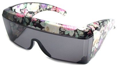 Angle of SW Floral Shield Style #8938 in Black Floral Frame, Women's and Men's