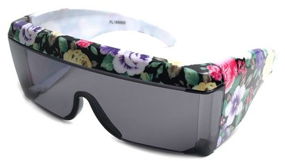 Angle of SW Floral Shield Style #8938 in Black and White Floral Frame, Women's and Men's