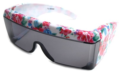 Angle of SW Floral Shield Style #8938 in White and Pink Floral Frame, Women's and Men's