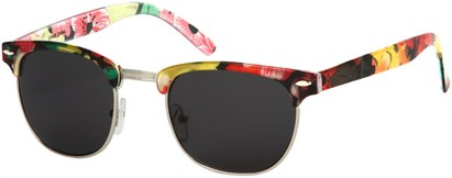 Angle of SW Floral Retro Style #9929 in Black Multi Floral/Silver Frame, Men's Select... Select...