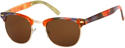 Angle of SW Floral Retro Style #9929 in Red Multi Floral/Gold Frame, Men's Select... Select...