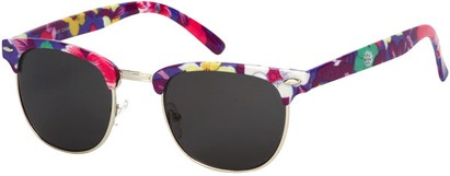 Angle of SW Floral Retro Style #9929 in Purple Multi Floral/Silver Frame, Men's Select... Select...