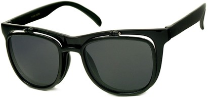 Angle of SW Flip-Up Retro Style #2210 in Black Frame with Smoke Lenses, Women's and Men's